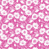 Pink and white floral silhouettes seamless pattern Stock Photo