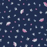 Pink White Flowers on Blue Background Seamless Vector Repeat Floral Pattern Background stock illustration