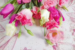 Pink and white flowers on flowers background, layout with free text space, greeting card concept Stock Photo