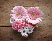 Pink and white flowers heart Stock Photo