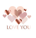 Pink and White geometry Hearts Vector Illustration. Royalty Free Stock Photos