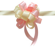 Pink And White Gift Bow With Ribbon Stock Photos