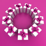 Pink and white gift boxes circle Royalty Free Stock Image