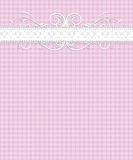 Pink White Gingham Pattern, Lace, Flourish Royalty Free Stock Photography