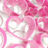 Pink and white glossy hearts composition background Stock Images