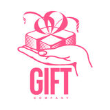Pink and white graphic gift box logo templates Stock Photos
