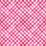 Pink and white plaid background. Pink and white grunge gingham plaid ripply diagonal abstract geometric seamless pattern background. Watercolor hand drawn stock illustration