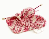 Pink and white Hand Knitted Stock Photography