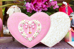 Pink and white heart box for wedding day Stock Photos