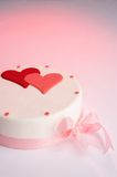 Pink and White Heart Cake Stock Photography