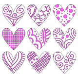 Pink and white heart collection Royalty Free Stock Photos