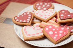 Pink and White Heart Cookies. Beautiful Pink and White Spotty Heart Cookies and Biscuits Stock Image