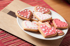 Pink and White Heart Cookies. Beautiful Pink and White Spotty Heart Cookies and Biscuits Stock Photo