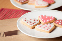Pink and White Heart Cookies. Beautiful Pink and White Spotty Heart Cookies and Biscuits Stock Photography