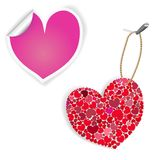 Pink And White Heart Labels Stock Images