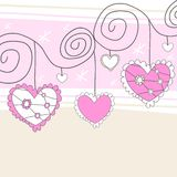 Pink and white hearts Stock Images