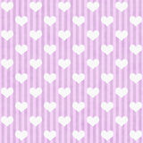 Pink and White Hearts and Stripes Fabric Background Stock Photography