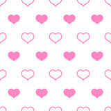 Pink white hearts Valentine's day seamless pattern Stock Image