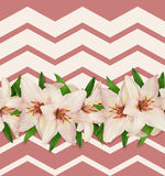 Pink and white lilies seamless pattern Royalty Free Stock Images