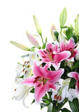Pink and white lily bouquet closeup Royalty Free Stock Images