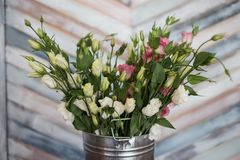 Pink and white Lisianthus flower decoration. Stock Images