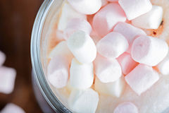 Pink and white marshmallows in hot chocolate Stock Photo