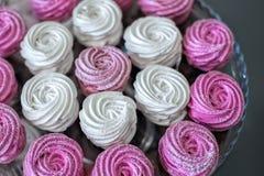 Pink marshmallows background Stock Image