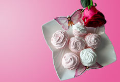 Pink and white marshmallows on a white plate with butterflies, isolated rose on pink background Stock Image