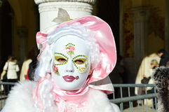 Pink and white mask royalty free stock images