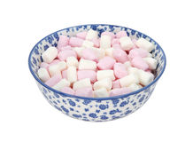 Pink and white mini marshmallows in a blue and white china bowl Stock Photo