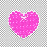 Pink and white paper cut lacing heart sticker with ribbon and po. Lka dots pattern isolated on transparent. Stamp for baby girl, valentines or wedding scrapbook Stock Photos
