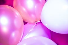 Pink and white party Balloons. Bunch of pink and white party balloons Stock Photo