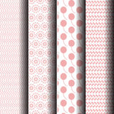 Pink and white patterns. Set pattern of pink and white geometric pattern. That can be used indefinitely Royalty Free Stock Images