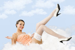 Pink and white pinup on the ground Royalty Free Stock Photo