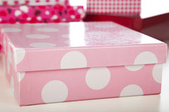 Pink and White Polka Dot Gift Box Royalty Free Stock Images