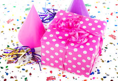 Pink with White Polka Dot Present Royalty Free Stock Images