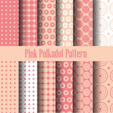Pink and white polka dot seamless pattern vector illustration