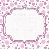 Pink and White Polka Dot Thank You Frame Background stock illustration