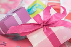 Pink and White Present Stock Photo