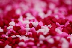 Pink, White, and Red Heart Stone Lot Stock Image