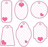 Pink and white romantic tag or label collection Royalty Free Stock Photography