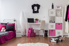 Pink and white room for sporty girl Royalty Free Stock Photography