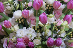 Pink and white rose bouquet. Royalty Free Stock Images