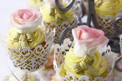 Pink and White Rose Cupcake Royalty Free Stock Images