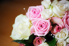 Pink and white roses. Brides pink and white roses detail Royalty Free Stock Photography