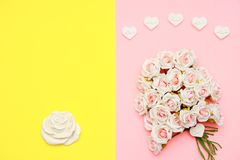 Pink and white roses, heart shape stones and gift wrapped on flat lay paper, happy mothers day. Celebration Stock Images