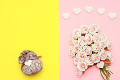 Pink and white roses, heart shape stones and gift wrapped on flat lay paper, happy mothers day. Celebration Stock Photography