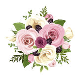 Pink and white roses and lisianthus flowers. Vector illustration. Royalty Free Stock Photos