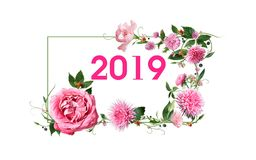 """New year illustration design. Pink""""2019"""" on white small rectangle-shaped which has light delicate green outline.The outline is as a floral frame-shaped royalty free illustration"""