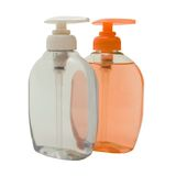 Pink and White Soft Soap. In Dispensers. Isolated, Clipping Path Included Stock Photography